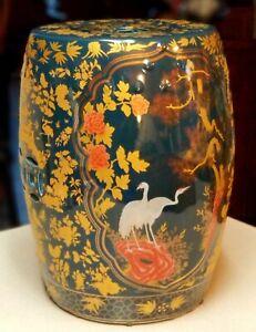 Vintage Gump's Chinese Cobalt Blue & Gold Garden Stool Porcelain FREE SHIPPING