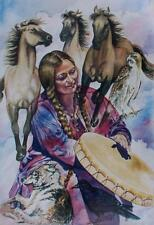 "Amazon Woman Series ""Spirit Drummer""  Feminist Lesbian Pat Wiles Horse Wolf Hawk"