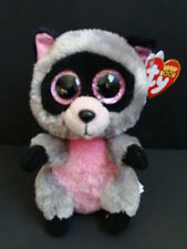"NWT TY Beanie Boos 6"" ROCCO Raccoon Pink Gray Plush Baby Boo 2014 Sparkle NEW"