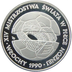 POLAND 1988. 500 ZLOTYCH SILVER PROOF. WORLD CUP 1990