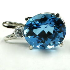 6 carat SWISS BLUE TOPAZ 12x10mm, Sterling Silver Pendant- Handmade • SP022
