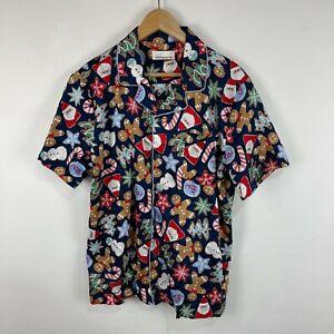 Peter Alexander Mens Pyjama Shirt Size Large Christmas Theme Short Sleeve