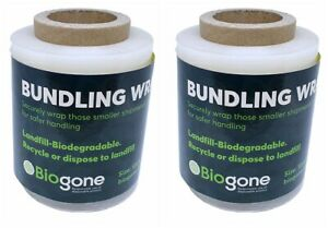 2 Bundling Film Mini Stretch Wrap BIODEGRADABLE RECYCLABLE | 120mm x 250M CLEAR