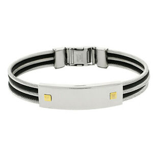 """Men 12MM Stainless Surgical Steel Cable Rubber ID Bangle Bracelet 8.5"""""""