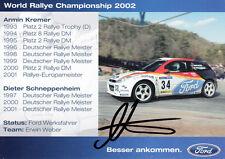 Armin Kremer (DEU) Deutscher Rallyemeister ,1.EM 2001 original signiert/signed !