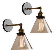 "Pair 7.2""Funnel Glass Shade Retro Industrial Antique Wall Light Wall Lamp Sconce"