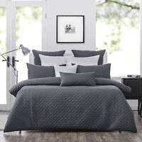 Bianca Heston Slate Quilted Doona|Duvet|Quilt Cover Set in King & Queen