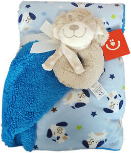 New fleece blanket with rattle toy blue