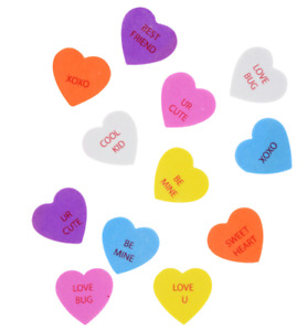 New 90 Foam Heart Conversation Stickers Valentine's Crafts Assorted Colors~Qty 1