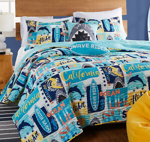 SURF RIDER 3pc Full Queen QUILT SET : OCEAN WAVE SURFING BEACH SURFBOARD TEEN