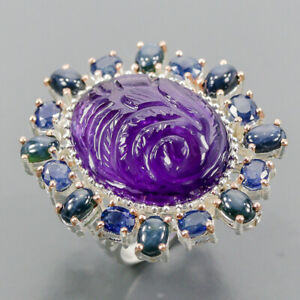 Speical 60 ct+ gems Amethyst Ring Silver 925 Sterling  Size 8 /R165416