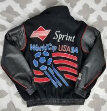 1994 US World Cup Soccer Leather Varsity Wool Letterman Jacket XL Sprint Bomber