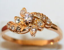 Diamond Leafs Flower Beautiful Ring c1919 Antique Art Deco French 18K Gold .47ct