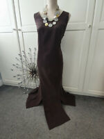 A.H.EXCLUSIVE LADIES CALF LENTH PINAFORE  IN CHESTNUT BROWN  SIZE 16/18 OFFICE S