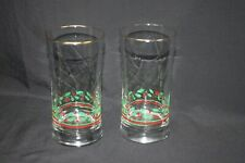 2 Arbys Christmas Holiday Holly Berry Ribbon Glasses Water Gold Rims Vtg 1987