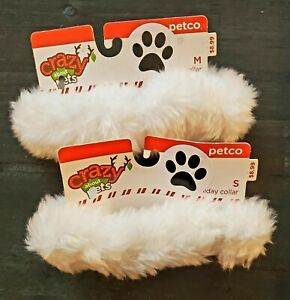 Petco Crazy About Pets Dog Christmas Holiday White Collar S/M  New