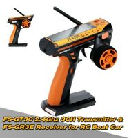 FS-GT3C 2.4GHz 3CH Transmitter + FS-GR3E Receiver for RC Car Boat Parts pf