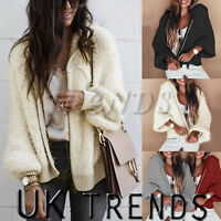 UK Womens Teddy Oversized Coat Ladies Borg Zip Hooded Fur Jacket Size 8-14