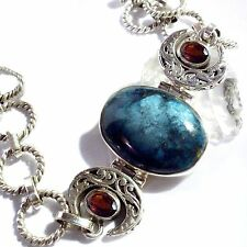 ARMBAND ECHT CHRYSOKOLL GRANAT 925 Silber Bracelet