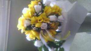 Large wedding cascade bouquet 10 boutioneers and 10 corsages yellow and white