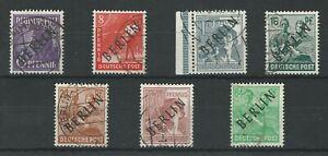 1949 Berlin, 7 with Black Overprints, 6, 8, 12, 16, 24, 60, 84 pf.