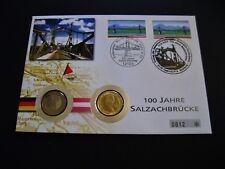 """Numisbrief  BRD & Österreich  2 x 1 Euro  2002  """"100 Jahre Salzachbrücke"""""""