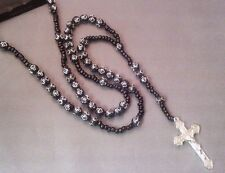 Prayer Rosary 8mm SILVER STAMPED Cross Beads Silver Tone Crucifix BLACK Gift!