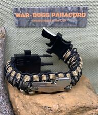 Paracord Survival Bracelet Knife, LED, Compass, Fire Starter Buckle, P-38 Tool