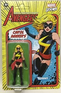"Marvel Legends Retro 375 Collection Carol Danvers Captain Marvel 3 3/4"" Hasbro"