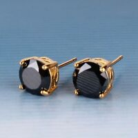 Wedding present! black sapphire 24k yellow gold filled stud brand new earring