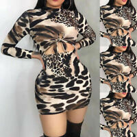 USA Women Long Sleeve Bandage Bodycon Night Party Cocktail Club Short Mini Dress