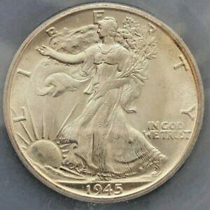 1945 S Walking Liberty Half Dollar - ICG MS64 - Scarce  Better Date