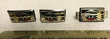 Vintage 950 Sterling Silver Asian Pagoda Temple Cufflinks & Tie Clip
