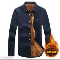Mens Fur Lining Warm Shirt Winter Long SLeeve Formal Shirt BUsiness Casual New