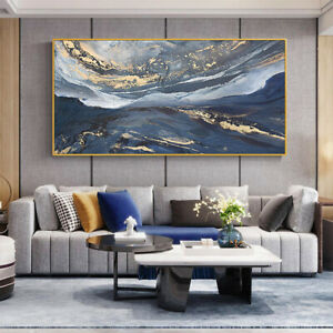 """LL856 Hand-painted abstract gold foil gold powder oil painting Unframed 48"""""""
