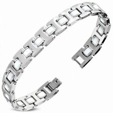 Bracelet with Link Panther Stainless Steel with Rubber White 421