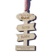 Personalised North Pole Family Christmas Decoration  – With up to 7 Names