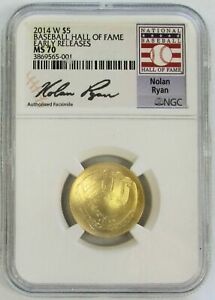 2014 W GOLD $5 NOLAN RYAN BASEBALL HALL OF FAME COIN NGC MS 70 EARLY RELEASES