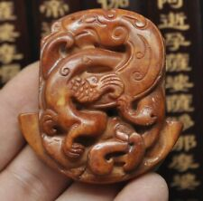 Chinese old natural jade hand-carved statue phoenix~Dragon
