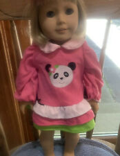 18 Inch Doll Pink With Different Colors Of Ruffles Panda Dress. Outfit Only.
