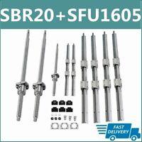 SBR20 Linear Rail Set+3 BallScrew RM1605 SFU1605 300mm-1500mm+BK/BF12+Coupler US