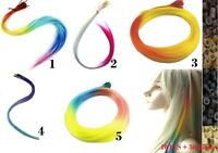 10pcs Rainbow 14'' Straight Party Synthetic Hair Extension Cosplay Free 50 Beads