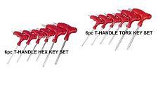 NEW 12PC T HANDLE SET 6 TORX & 6 HEX  ALLEN KEY TRX STAR TX SCREWDRIVER SET