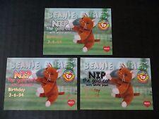 Ty Beanie Babies Bboc Series I S1 ~ Red Blue Silver Birthday 3 Card 41 Nip Cat