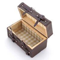1:12 Doll house Miniature Vintage Leather Wood Suitcase Mini Luggage Box O9 A7G5