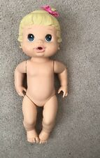 2008 HASBRO BABY ALIVE DRINK AND Wet Blonde Blue Eyes BOW
