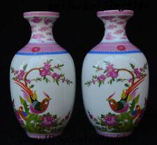 """8"""" China Porcelain Flower Bird Enamel Pattern Flower Bottle Vase Winebottle Pair"""