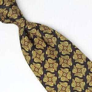 Jos A Bank Mens Silk Necktie Black Gold Brown Paisley Tie Premier Collection