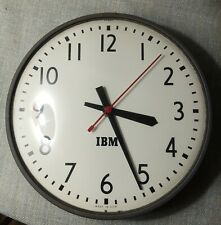 Vintage Ibm 13 Inch Industrial Schoolhouse Clock Convex Glass Front Runs!