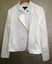 NWT ANN TAYLOR MOTO JACKET 12/MED/LARGE IVORY OFF WHITE SHINY GOLDTONE SOLD OUT!